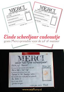 Einde schooljaar cadeau idee voor de juf of meester - gratis Merci printable