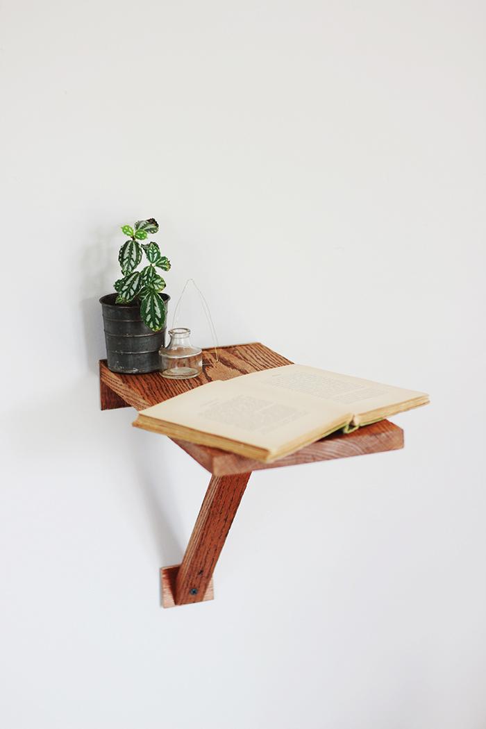 diy wall mount side table poppytalk. Black Bedroom Furniture Sets. Home Design Ideas