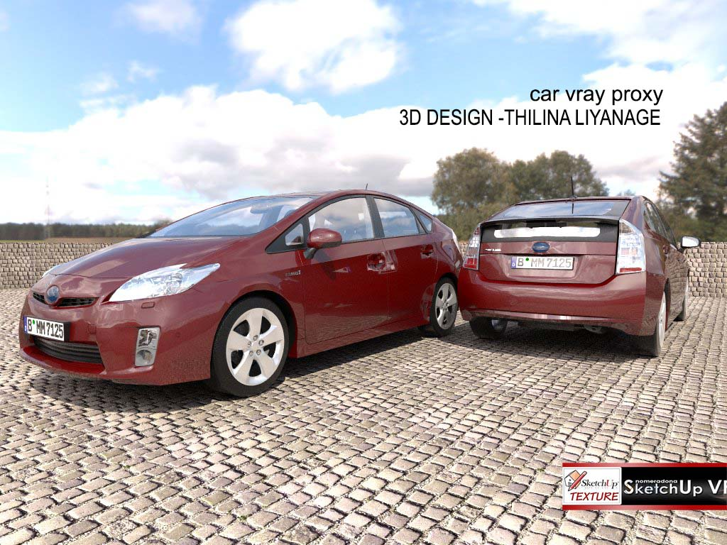 3d sketchup model luxury villa #35 vray car proxy