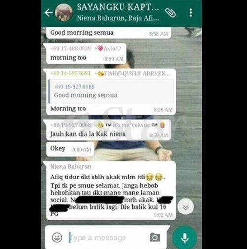Paparan skrip kumpulan Whatsapp yang tersebar