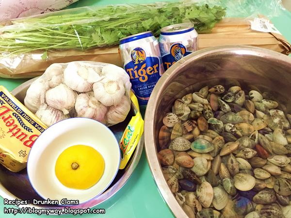 Ingredients for Drunken Clams