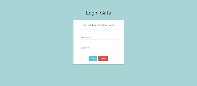 Login page screen shot
