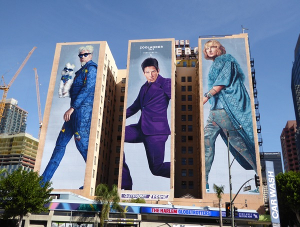 Giant Zoolander 2 movie billboards Downtown LA