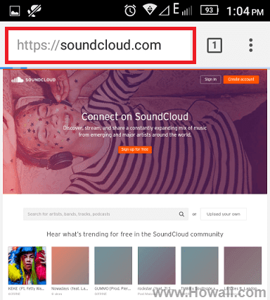 how to view soundcloud full desktop site on Android
