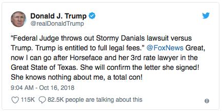 Trump calls Stormy Daniels 'Horseface'