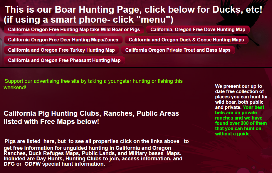 California Hunting maps for Turkey, deer, pig, ducks, fishing with Oregon Hunting lubs