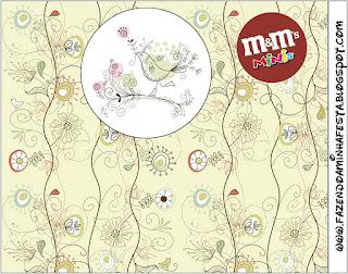 Etiqueta M&M para Imprimir Gratis de Jardín Vintage.