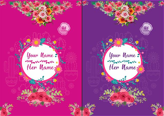 Kumpulan 2 Desain Kartu Undangan Pernikahan Elegan Vector Psd Gratis