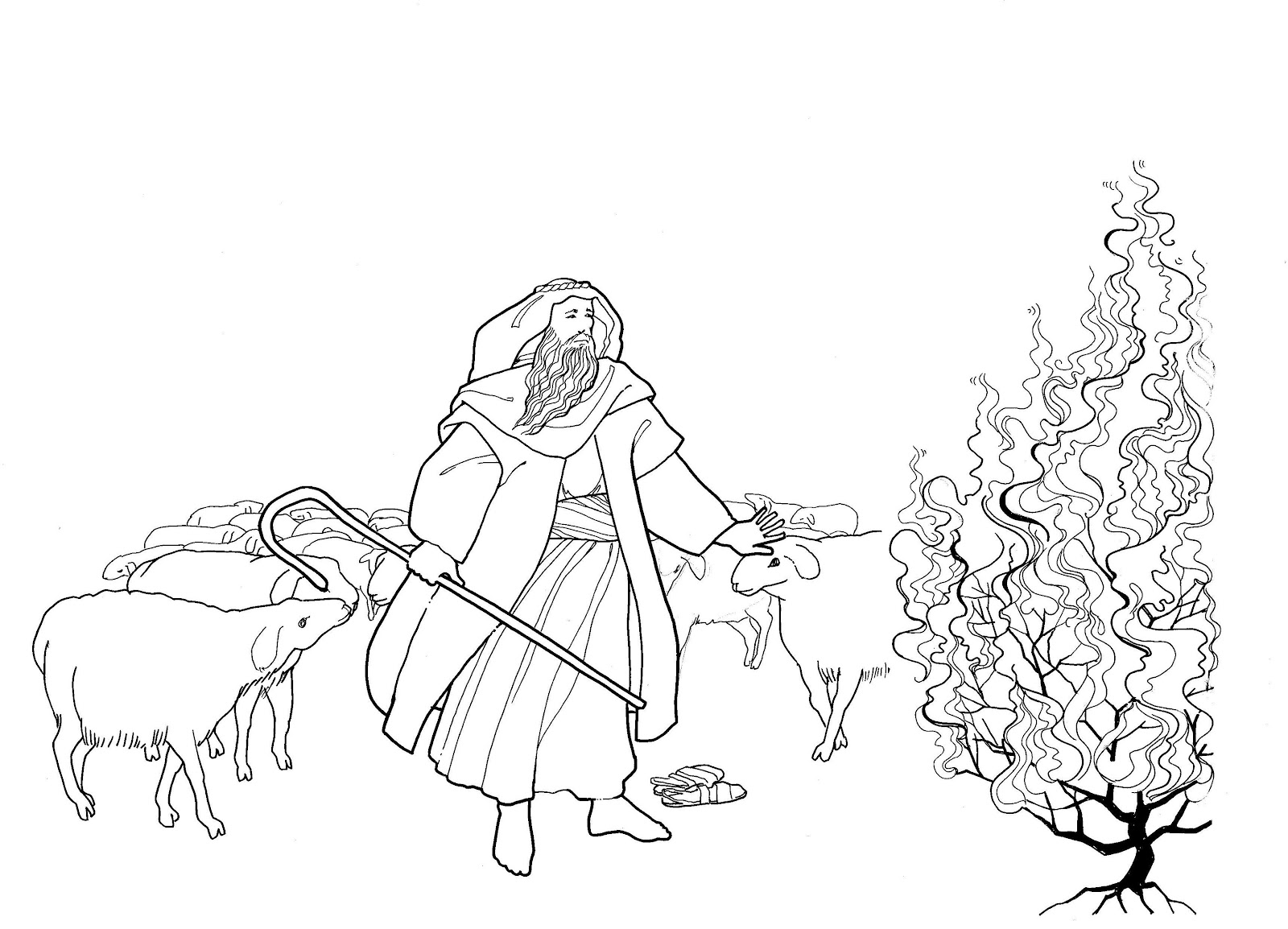 Moses Burning Bush Coloring Page Sketch Coloring Page