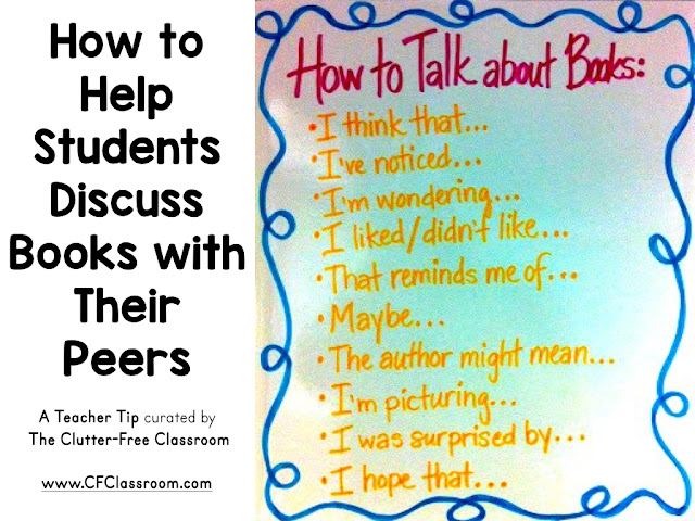 Book talks and text-based discussions are great ways to improve reading comprehension skills. This blog post from the Clutter-Free Classroom provides teachers with a way to help students take part in literature circles and peer book talks.
