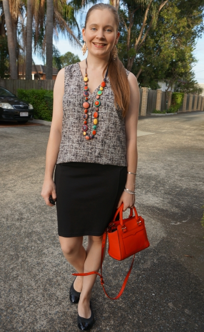 printed tank, colourful statement necklace, pencil skirt red rebecca minkoff micro avery bag | awayfromblue