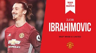 Ibrahimovic Man of the Match West Brom vs Manchester United 0-2