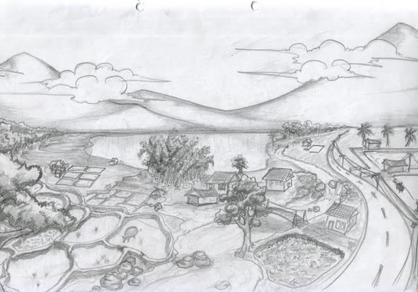 lukisan sketsa pemandangan