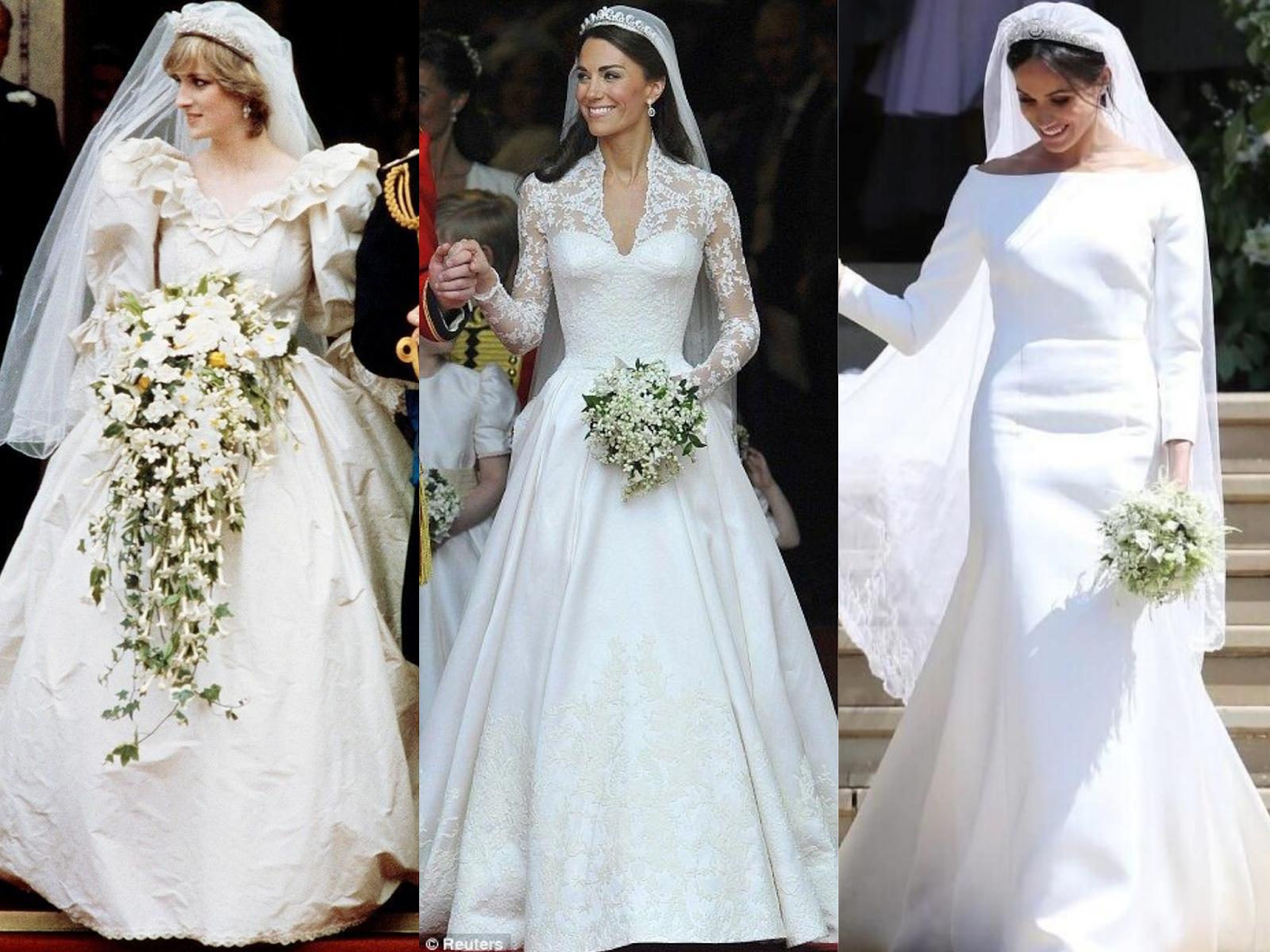 Lady Diana, Kate Middleton, Meghan Markle dan gaun pengantin mereka