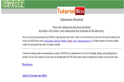submit Dmoz sukses!!