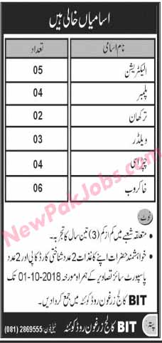 Jobs in BIT College Zarghoon Road