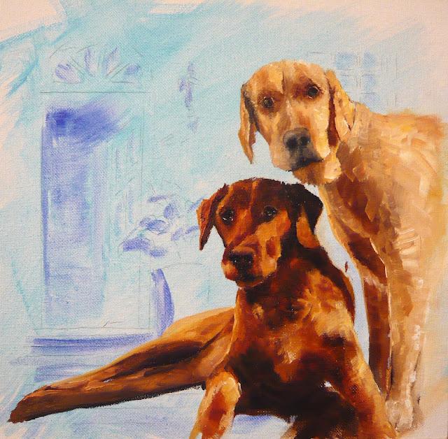 work-in-progress of labrador painting