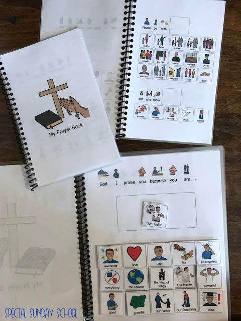 Free visual prayer book for individual with special needs or autism. Perfect for special needs ministries!