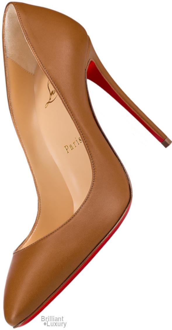 Brilliant Luxury♦Christian Louboutin Eloise Classic Elegant Brown Nappa Stiletto Pump