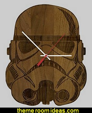 Star Wars StormTrooper Helmet Science Fiction Inspired Laser Engraved Wall Clock - American Walnut Wood
