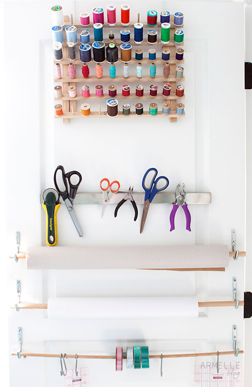 Closet+Door+Storage Craft Room Storage and Organization from Armelle Studio