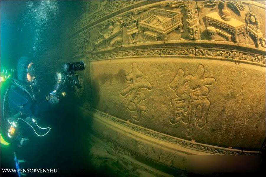 Víz alatti ősi város egy kínai tóban
