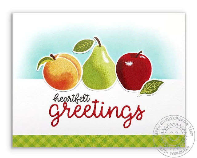 Sunny Studio Stamps: Fruit Cocktail Heartfelt Greetings Peach, Pear & Apple Card by Mendi Yoshikawa