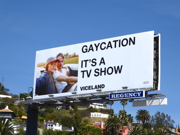 Gaycation series premiere billboard