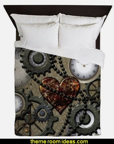 Steampunk Queen Duvet  Steampunk decorating ideas - Victorian Vintage antiques - steam punk Industrial style decorating ideas  - steampunk gears decor - Steampunk clothes - Steampunk Costumes - Steampunk home decor - Steampunk lighting - Steampunk wall art - Victorian punk rock style creates the steampunk theme - Steampunk bedding