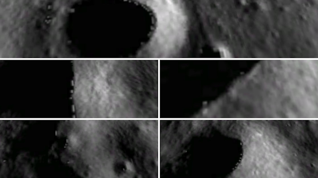 Collage of loads of UFOs on the Moon on the rims of craters.