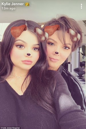 'Pregnant' Kylie Jenner Crops Out Stomach As She Pictured  With Momager On Snapchat