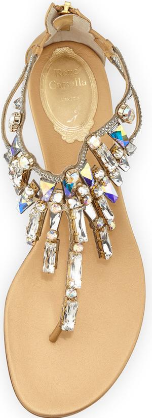 Rene Caovilla Large-Crystal Flat T-Strap Sandal, Gold