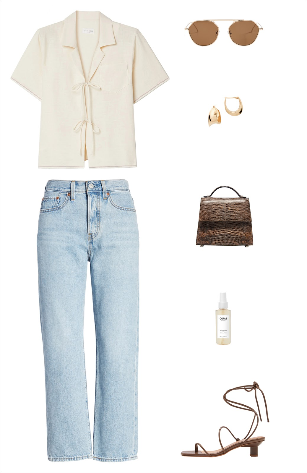 Casual-Chic Denim Outfit for Summer and Fall — standout shirt, metal-rim sunglasses, chunky hoop earrings, a cool mini bag, classic straight-leg jeans, and ankle-wrap sandals