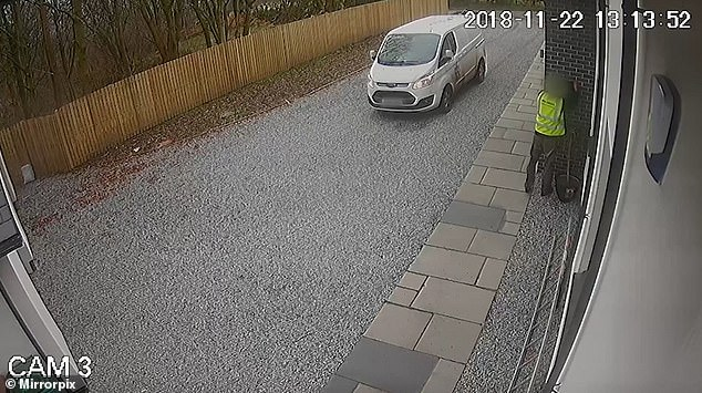 Amazon delivery driver is caught on CCTV going through householder's