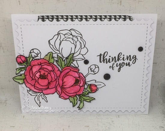 Thinking of you by Debbie features Framework and Peony Blooms by Newton's Nook Designs; #newtonsnook