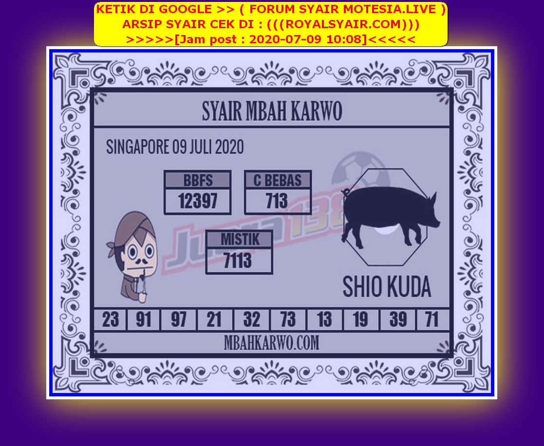 Kode syair Singapore Kamis 9 Juli 2020 166