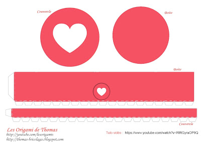 Template boite ronde en papier - reaction facebook : Love