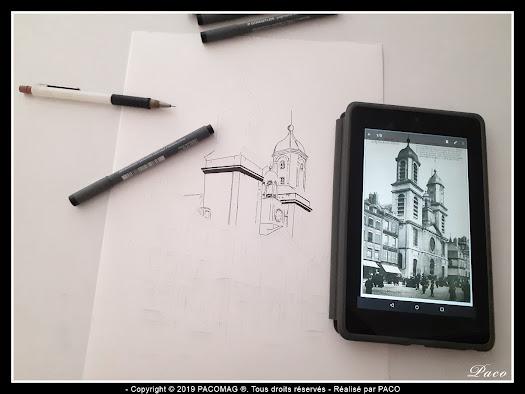 église st-charles Sedan dessin au trait