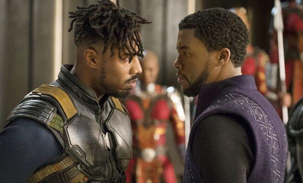 Michael B. Jordan and Chadwick Boseman in BLACK PANTHER (2018)