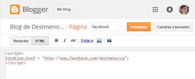 Código de redirección en página web de blogger
