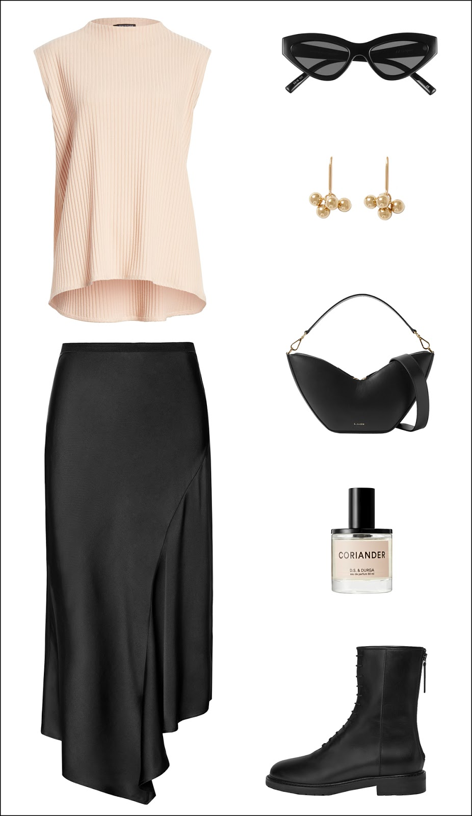 How to Wear Combat Boots for Spring — Sleeveless Top, Cat-Eye Sunglasses, Black Mini Bag, and Silk Skirt