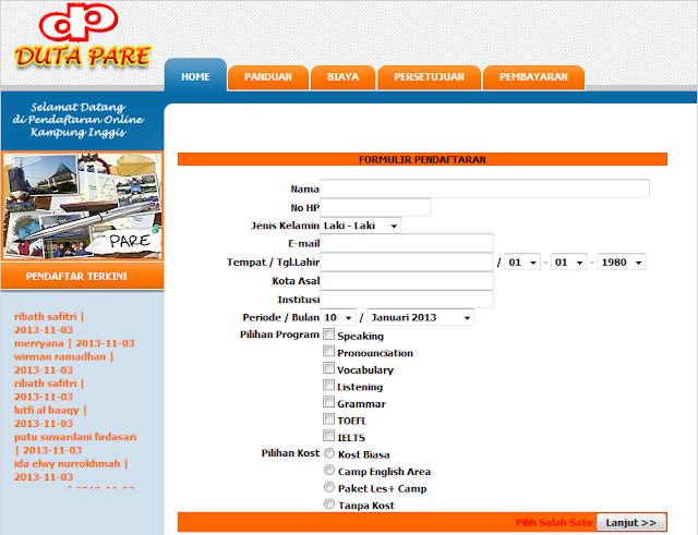 Foto Formulir Pendaftaran Online Kampung Inggris