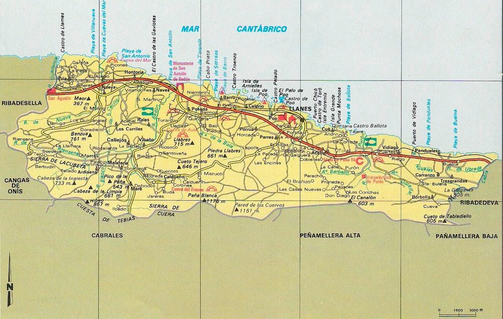 Mapa Del Concejo De Llanes Asi Ye Asturias