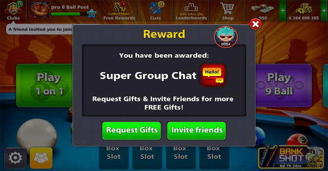 Super group Chat pack 8 ball pool Free Link