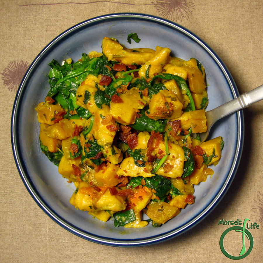 Morsels of Life - Roasted Butternut Squash and Spinach Gnocchi - A yummy combination of sweet potato gnocchi, roasted butternut squash, and spinach topped with some crispy bacon.