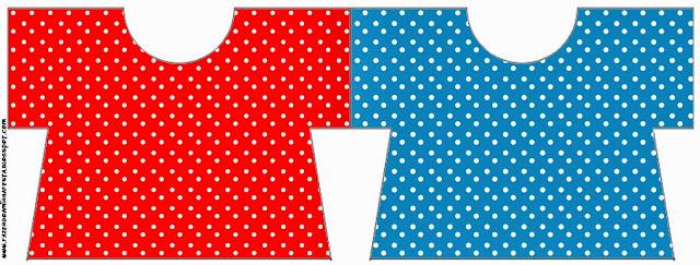 Tarjeta con forma de camisa de  Rojo, Amarillo y Azul.