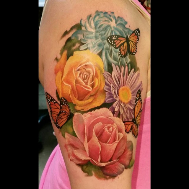 Realistic Flower Tattoos On The Right Forearm Tattoo: Suzy Homefaker: Beautiful Realistic Rose Tattoo's