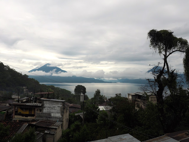 View of volcanoes & Lake Atitlan, Guatemala