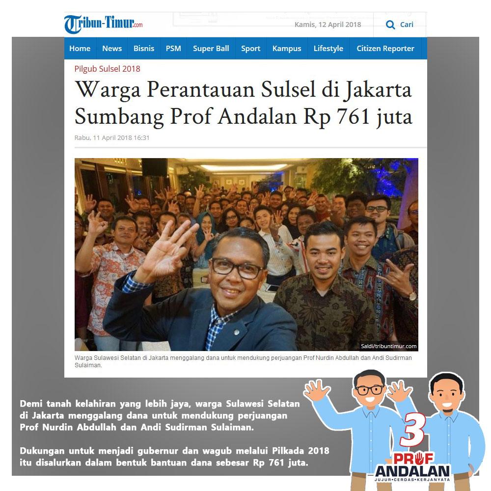 Prof Andalan Dapat Bantuan Dana Kampanye 761 Juta Dari Warga Perantau Di Jakarta