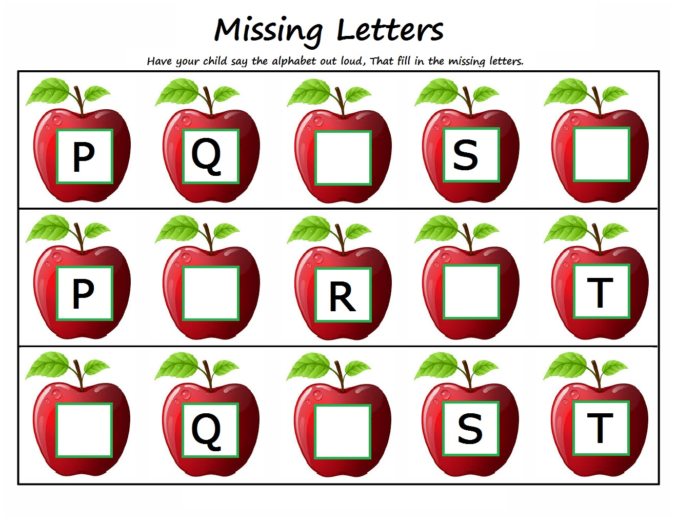Kindergarten Worksheets: Kindergarten Worksheets - Missing Letters